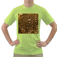 Festive Bubbles Sparkling Wine Champagne Golden Water Drops Green T-Shirt