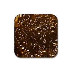 Festive Bubbles Sparkling Wine Champagne Golden Water Drops Rubber Square Coaster (4 pack)