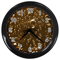 Festive Bubbles Sparkling Wine Champagne Golden Water Drops Wall Clocks (black)