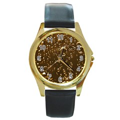 Festive Bubbles Sparkling Wine Champagne Golden Water Drops Round Gold Metal Watch
