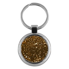 Festive Bubbles Sparkling Wine Champagne Golden Water Drops Key Chains (round)