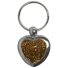 Festive Bubbles Sparkling Wine Champagne Golden Water Drops Key Chains (Heart)