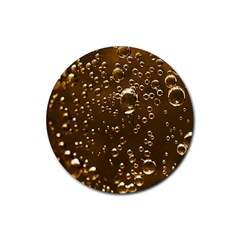 Festive Bubbles Sparkling Wine Champagne Golden Water Drops Rubber Round Coaster (4 pack)