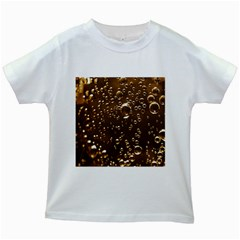Festive Bubbles Sparkling Wine Champagne Golden Water Drops Kids White T-Shirts