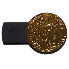 Festive Bubbles Sparkling Wine Champagne Golden Water Drops USB Flash Drive Round (1 GB)
