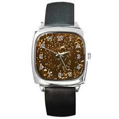 Festive Bubbles Sparkling Wine Champagne Golden Water Drops Square Metal Watch