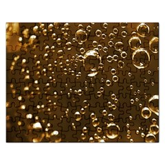 Festive Bubbles Sparkling Wine Champagne Golden Water Drops Rectangular Jigsaw Puzzl