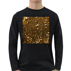 Festive Bubbles Sparkling Wine Champagne Golden Water Drops Long Sleeve Dark T Shirts