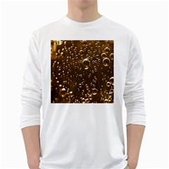 Festive Bubbles Sparkling Wine Champagne Golden Water Drops White Long Sleeve T Shirts