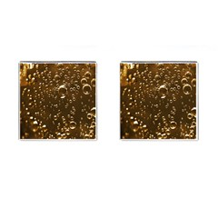 Festive Bubbles Sparkling Wine Champagne Golden Water Drops Cufflinks (square)
