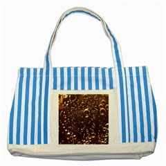 Festive Bubbles Sparkling Wine Champagne Golden Water Drops Striped Blue Tote Bag