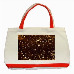 Festive Bubbles Sparkling Wine Champagne Golden Water Drops Classic Tote Bag (Red)