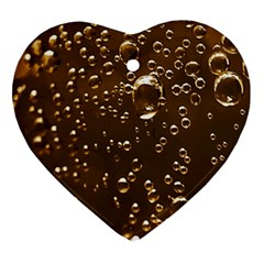 Festive Bubbles Sparkling Wine Champagne Golden Water Drops Heart Ornament (Two Sides)
