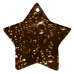 Festive Bubbles Sparkling Wine Champagne Golden Water Drops Star Ornament (Two Sides)