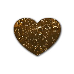 Festive Bubbles Sparkling Wine Champagne Golden Water Drops Heart Coaster (4 Pack)
