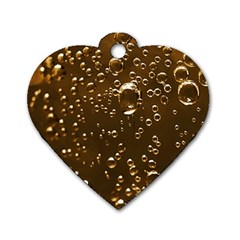 Festive Bubbles Sparkling Wine Champagne Golden Water Drops Dog Tag Heart (two Sides)