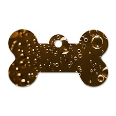 Festive Bubbles Sparkling Wine Champagne Golden Water Drops Dog Tag Bone (One Side)