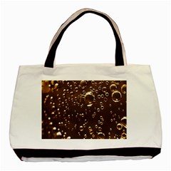 Festive Bubbles Sparkling Wine Champagne Golden Water Drops Basic Tote Bag (two Sides)