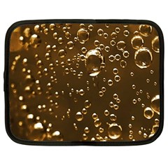 Festive Bubbles Sparkling Wine Champagne Golden Water Drops Netbook Case (Large)