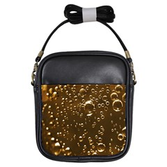Festive Bubbles Sparkling Wine Champagne Golden Water Drops Girls Sling Bags