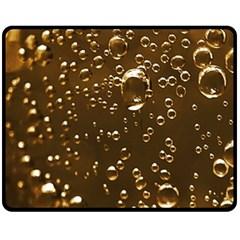 Festive Bubbles Sparkling Wine Champagne Golden Water Drops Fleece Blanket (Medium)
