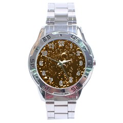 Festive Bubbles Sparkling Wine Champagne Golden Water Drops Stainless Steel Analogue Watch