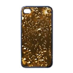 Festive Bubbles Sparkling Wine Champagne Golden Water Drops Apple iPhone 4 Case (Black)