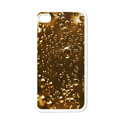 Festive Bubbles Sparkling Wine Champagne Golden Water Drops Apple Iphone 4 Case (white)