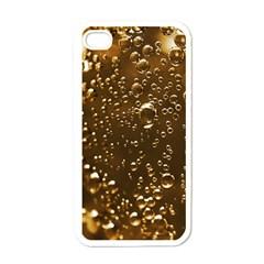 Festive Bubbles Sparkling Wine Champagne Golden Water Drops Apple iPhone 4 Case (White)