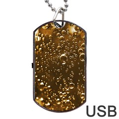 Festive Bubbles Sparkling Wine Champagne Golden Water Drops Dog Tag Usb Flash (one Side)