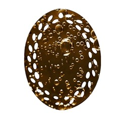 Festive Bubbles Sparkling Wine Champagne Golden Water Drops Oval Filigree Ornament (Two Sides)