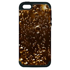 Festive Bubbles Sparkling Wine Champagne Golden Water Drops Apple iPhone 5 Hardshell Case (PC+Silicone)