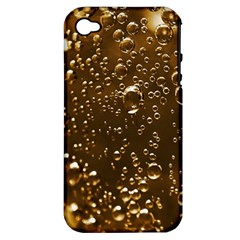 Festive Bubbles Sparkling Wine Champagne Golden Water Drops Apple iPhone 4/4S Hardshell Case (PC+Silicone)