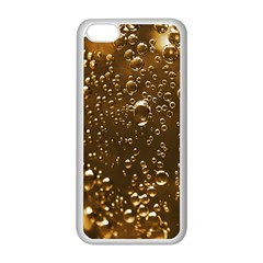Festive Bubbles Sparkling Wine Champagne Golden Water Drops Apple iPhone 5C Seamless Case (White)