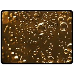 Festive Bubbles Sparkling Wine Champagne Golden Water Drops Double Sided Fleece Blanket (Large)