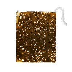 Festive Bubbles Sparkling Wine Champagne Golden Water Drops Drawstring Pouches (Large)
