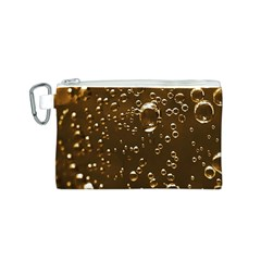 Festive Bubbles Sparkling Wine Champagne Golden Water Drops Canvas Cosmetic Bag (S)