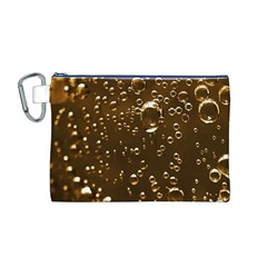 Festive Bubbles Sparkling Wine Champagne Golden Water Drops Canvas Cosmetic Bag (m)