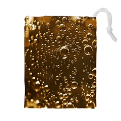 Festive Bubbles Sparkling Wine Champagne Golden Water Drops Drawstring Pouches (Extra Large)