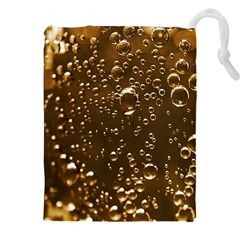 Festive Bubbles Sparkling Wine Champagne Golden Water Drops Drawstring Pouches (XXL)