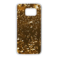 Festive Bubbles Sparkling Wine Champagne Golden Water Drops Samsung Galaxy S7 White Seamless Case