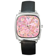 Lovely Floral 36a Square Metal Watch