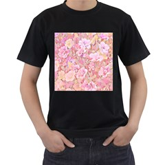 Lovely Floral 36a Men s T-Shirt (Black) (Two Sided)