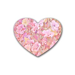 Lovely Floral 36a Rubber Coaster (Heart)