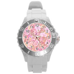 Lovely Floral 36a Round Plastic Sport Watch (L)