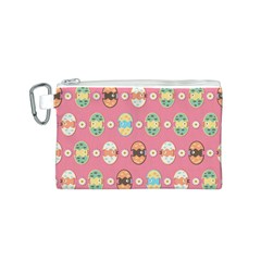 Cute Eggs Pattern Canvas Cosmetic Bag (S)