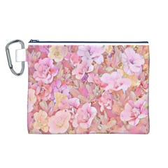 Lovely Floral 36a Canvas Cosmetic Bag (L)