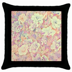 Lovely Floral 36b Throw Pillow Case (Black)