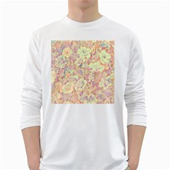 Lovely Floral 36b White Long Sleeve T-Shirts