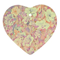 Lovely Floral 36b Heart Ornament (Two Sides)